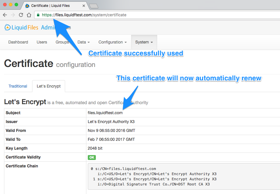 Let's Encrypt Certificates | LiquidFiles Documentation